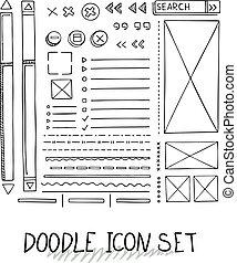 Hand drawn vector icons set website development doodles elements.