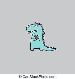 Hand drawn vector illustration cartoon little sad dinosaur holding a red broken heart. Vector illustration for poster or print decoration.