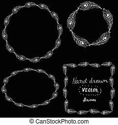 Hand drawn vector illustration frames