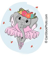 Hand drawn vector illustration of a cute baby elephant ballerina in a pink tutu.Print