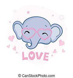 Hand drawn vector illustration of a cute baby elephant in big glasses.