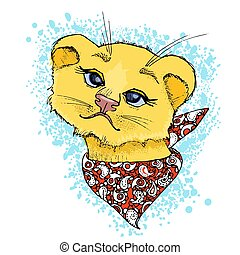 Hand drawn vector illustration of a cute funny lion face.