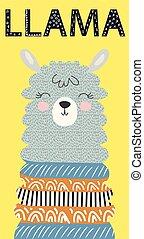 Hand drawn vector illustration of a cute funny llama face Scandinavian style flat design