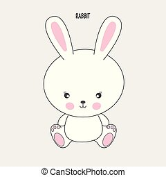 Hand drawn vector illustration of a cute funny rabbit. Isolated objects on white background.