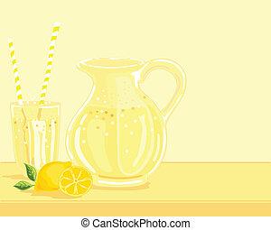lemonade - hand drawn vector illustration of a jug of ...