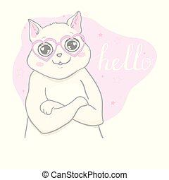 Hand drawn vector illustration of a kawaii funny unicorn cat with slogan phrase i`m cutie. Isolated objects on white background. Line drawing. Design concept for children print.