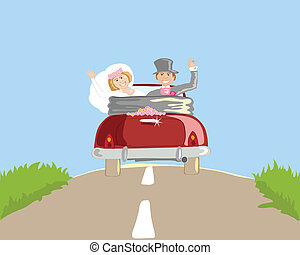 honeymoon - hand drawn vector illustration of a newly ...
