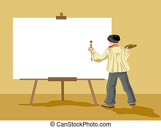 artist - hand drawn vector illustration of an artist about...