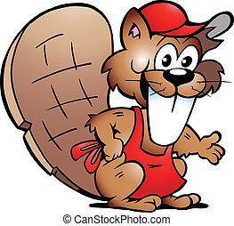 Beaver Serving Guests - Hand-drawn Vector illustration of an...