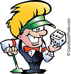Casino Croupier - Hand-drawn Vector illustration of an...