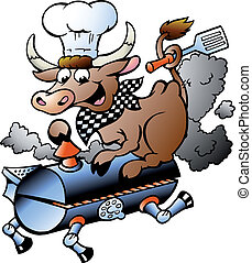 Chef Cow riding a BBQ barrel