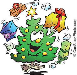 Christmas Tree Who Juggle Gifts - Hand-drawn Vector...