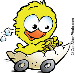chicken driving in a eggshell - Hand-drawn Vector...