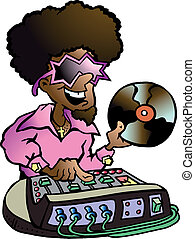 Disco DJ - Hand-drawn Vector illustration of an Disco DJ