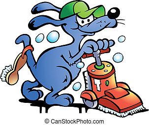 Dog Carpet Cleaner - Hand-drawn Vector illustration of an...
