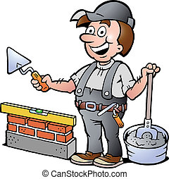 illustration of an Happy Bricklayer - Hand-drawn Vector...
