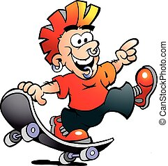 Happy Cool Skater Boy - Hand-drawn Vector illustration of an...