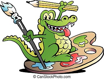 Happy Creative Artist Crocodile - Hand-drawn Vector...