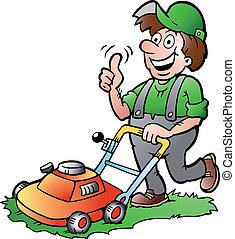 Gardener with his lawnmower - Hand-drawn Vector illustration...