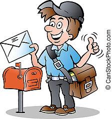 Hand-drawn Vector illustration of an Happy Postman