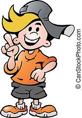 happy School Boy Pointing - Hand-drawn Vector illustration...