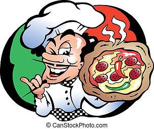 Italien Pizza Baker - Hand-drawn Vector illustration of an ...