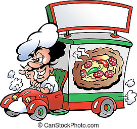 Hand-drawn Vector illustration of an Italien pizza dilevery...