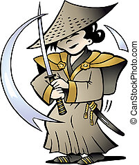 Japanese Samurai - Hand-drawn Vector illustration of an...
