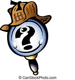 Mangifying Detective - Hand-drawn Vector illustration of an...