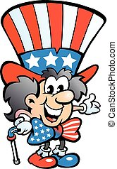Old Happy Uncle Sam - Hand-drawn Vector illustration of an...