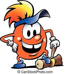 Orange Gobling with a big hammer
