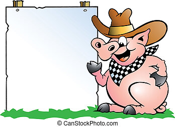 Pig Chef in front of a sign - Hand-drawn Vector illustration...