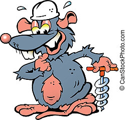 Smiling Rat holding a Drill