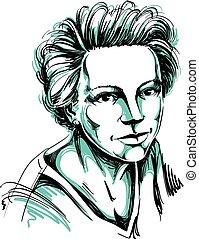Hand-drawn vector illustration of beautiful confident woman....