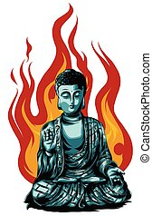 Hand drawn vector illustration of Buddha isolated