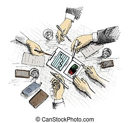 Top view concept with businessman hands and various office objects.