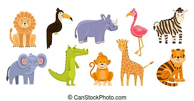 Hand drawn vector illustration of cute funny animals. Wild animals isolated objects. Flat design in flat cartoon style. Baby print concept. Illustrations for kids application animals jungle africa
