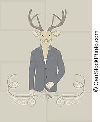 Hand Drawn Vector Illustration of Deer in a suit