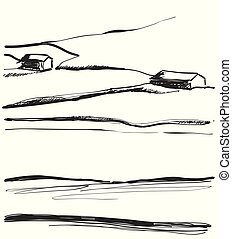 Hand drawn vector illustration of fields landscape