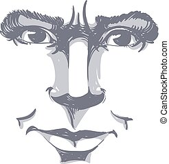 Hand-drawn vector illustration of irate woman. Monochrome ...