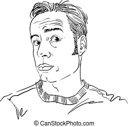 Hand-drawn vector illustration of shocked man, disbeliever theme. Monochrome image, expressions on face of young man.