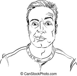 Hand-drawn vector illustration of skeptic guy with short hair. Monochrome image, expressions on face of young man, shocked person.