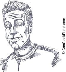 Hand-drawn vector illustration of smiling confident man. Monochrome image, expressions on face of cheerful guy.