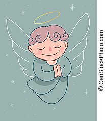 Guardian Angel - Hand drawn vector illustration or drawing ...
