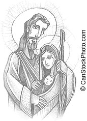 Hand drawn vector illustration or drawing of Jesus Joseph and mary, the Sacred Family