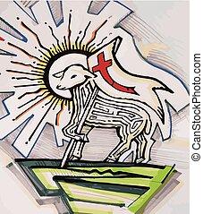 The Lamb of God - Hand drawn vector illustration or drawing...