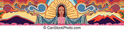Hand drawn vector illustration or drawing of Mary Virgin of Guadalupe and a colorful background