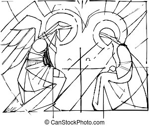 Virgin Mary and Gabriel Archangel at the Annunciation - Hand...