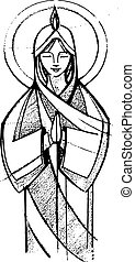Mary at Pentecost - Hand drawn vector illustration or...