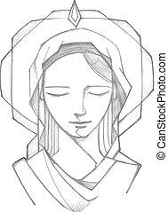 Hand drawn vector illustration or drawing of Virgin Mary at Pentecost Biblic passage
